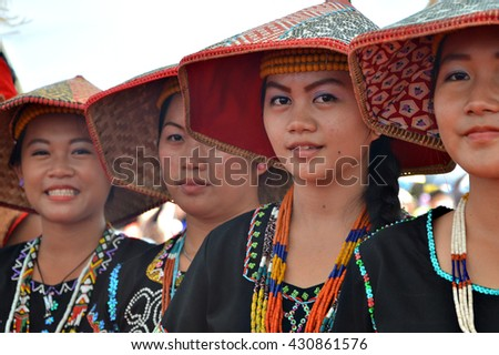 Penampang, Sabah Malaysia.May 31, 2016 : Murut Okolod from Sipitang in their traditional costume during Pesta Kaamatan. Pesta Kaamatan or Harvest Festival a major annual event for the Kadazandusun.