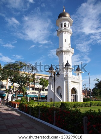 PENANG- APRIL 18: The Minaret of Kapitan Kling facade on April 18, 2013 in George Town, Penang, Malaysia historical city centre has been listed as a UNESCO World Heritage Site .