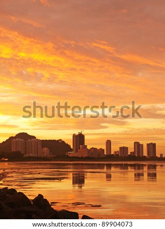 Penang beach late afternoon - stock photo