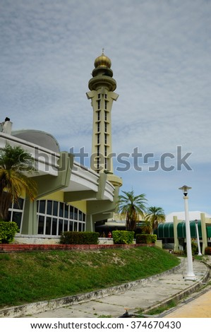PENANG, MALAYSIA - APRIL, 2014: Penang State Mosque is a state mosque located in George Town, Penang, Malaysia. Construction of the mosque was completed in 1980.