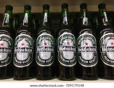 PENANG, MALAYSIA - AUGUST 24, 2017 : Heineken beer bottles beverage on store shelf. Heineken is a Dutch brewing company, founded in 1864 by Gerard Adriaan Heineken in Amsterdam.