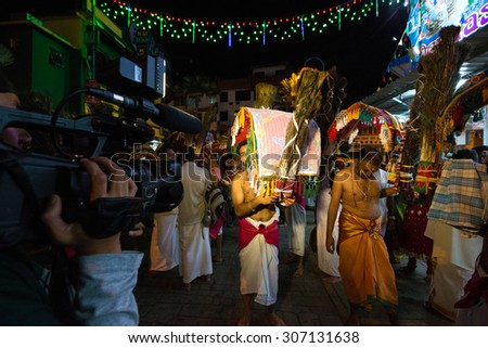 PENANG, Malaysia - JANUARY 17: Hindu devotee carries kavadi himself in Thaipusam festival on January 17, 2014 in Malaysia. Devotees implore to worship God Muruga