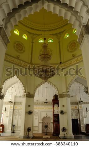 PENANG, MALAYSIA â?? JANUARY 12, 2014: Interior of Kapitan Keling Mosque at Georgetown, Penang, Malaysia. Located at Masjid Kapitan Keling Road. Built in 1916 for Indian Muslim community.    - stock photo