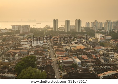 PENANG - OKTOBER 7 - Smoke from forest fires in Indones blows across the Penang Island causing haze.