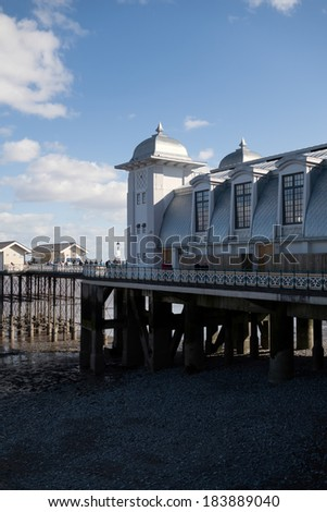 PENARTH, VALE OF GLAMORGAN/WALES - MARCH 23 : View of the Pier on March 23, 2014 in Penarth Wales showing unidentified adults/children