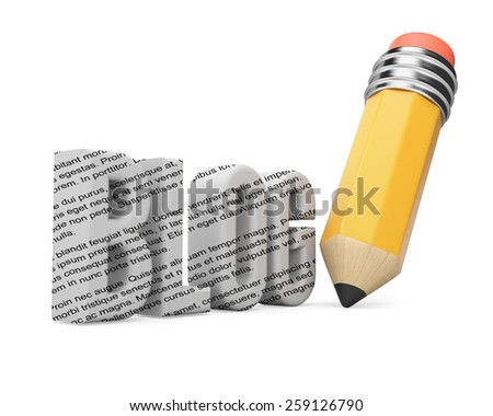 Pencil and blog word.  Blogging concept on white background. 3d render - stock photo