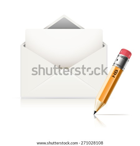 Pencil and envelope with letter on white background. Business icon. illustration. - stock photo