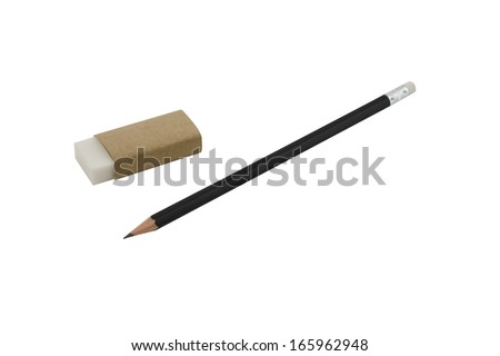 pencil and eraser isolated on white background