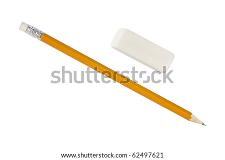 Pencil and eraser isolated on white with clipping path - stock photo