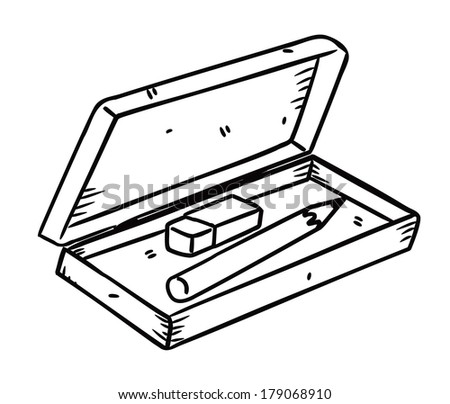 pencil and eraser with box in doodle style - stock photo