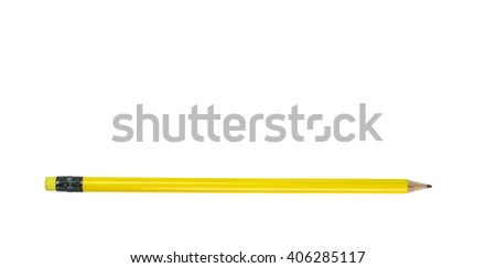 pencil and eraser, yellow isolated for background