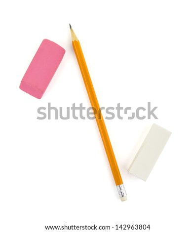 Pencil and erasers isolated on white - stock photo