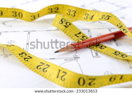 pencil and measuring tape