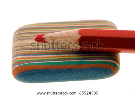 Pencil and rubber - stock photo