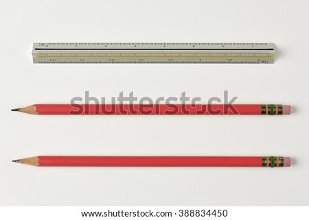 Pencil and Ruler Isolated on White Background with Real Shadow and Text Space. Top View