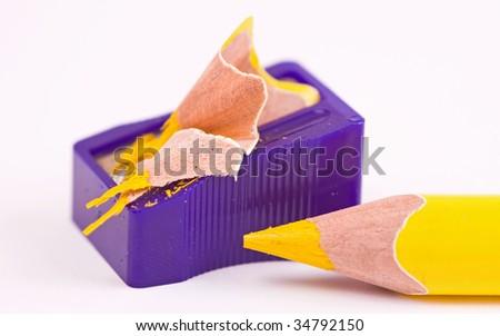 Pencil and sharpener - stock photo