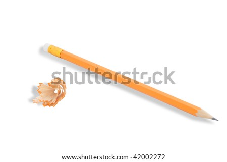 pencil and sharpener with some shavings