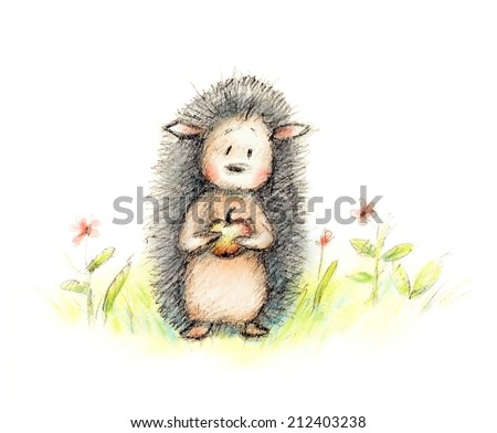 pencil and watercolor drawing of cute hedgehog with apple among flowers - stock photo