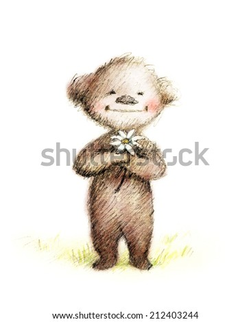 pencil and watercolor drawing of teddy bear with daisy - stock photo