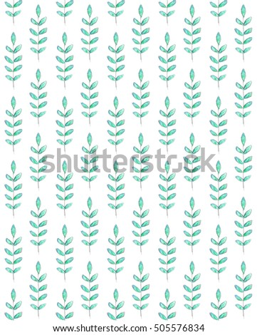 Pencil and Watercolor Leaves Pattern