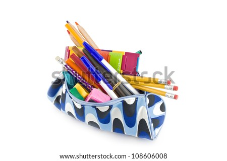 pencil box full of school supplies isolated on white background - stock photo