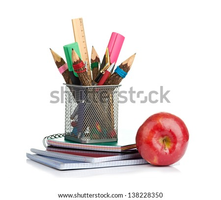 pencil box with school equipment - stock photo