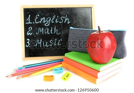 pencil box with school equipment and timetable isolated on white