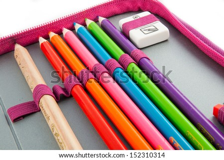Pencil-case isolated on white