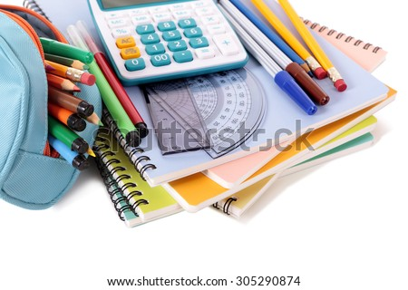 Pencil case, supplies, school equipment, isolated on white background - stock photo