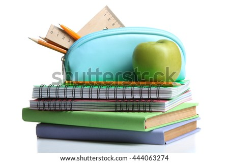 pencil case with notepads and books near the small accessories on a white isolated background with Apple
