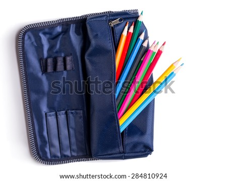 pencil case with pencils on white background  - stock photo