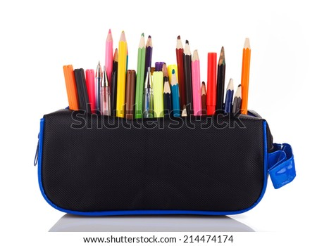 pencil case with school tools on a white background - stock photo