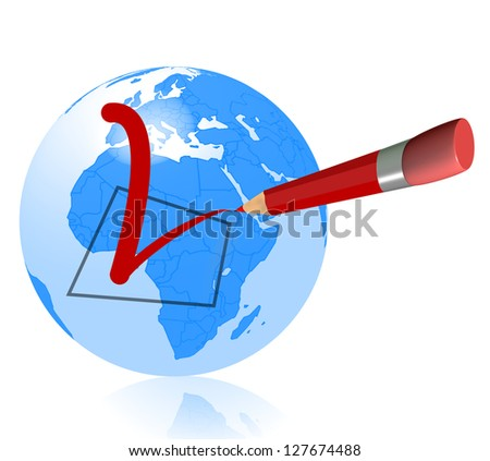 pencil check in world - stock photo