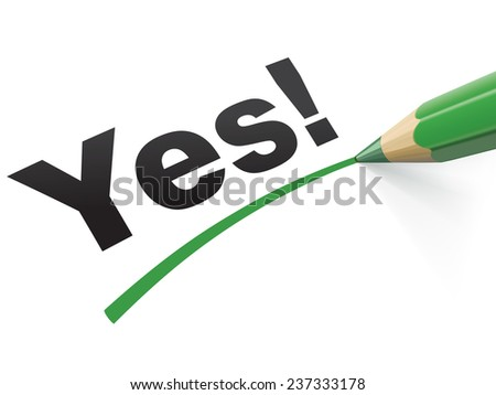 Pencil check Yes. Illustration - stock photo