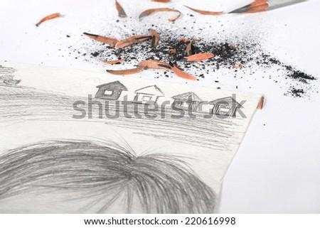 pencil Children - stock photo