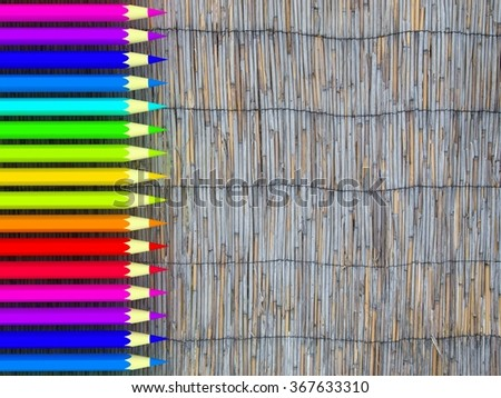 Pencil color on wood background