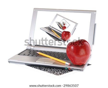 Pencil, composition book, and apple with laptop computer, isolated on white background
