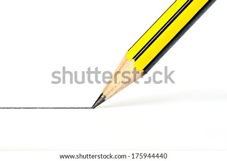 Pencil drawing a straight black line on a white paper - stock photo