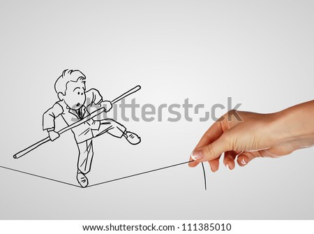 Pencil drawing as illustraion of risks and challenges inbusiness - stock photo