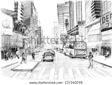 Pencil drawing of  a big modern city in New York-style with skyscrapers and pedestrian - stock photo
