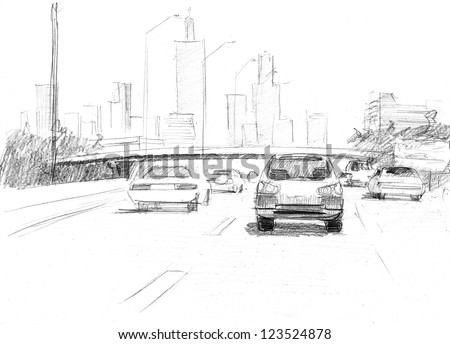 pencil drawing of a big modern city with intensive traffic - stock photo