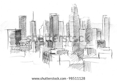 pencil drawing of a big modern city with skyscrapers - stock photo