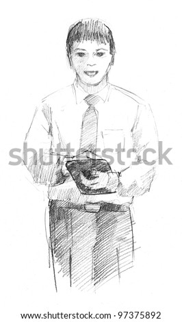 pencil drawing of a businessman with a tablet computer