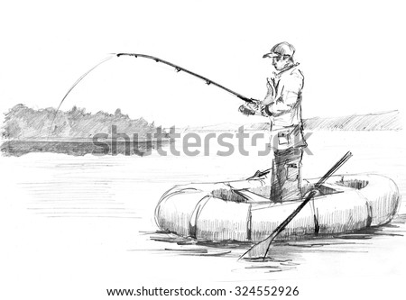 Pencil drawing of a fisherman with a rod fishing on the boat