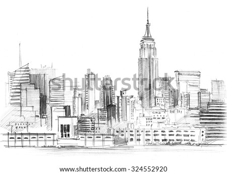 Pencil drawing of a landscape with set of skyscrapers in New York - stock photo