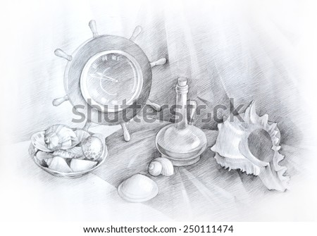 Pencil drawing of a sea still life with seashells and anchor - stock photo