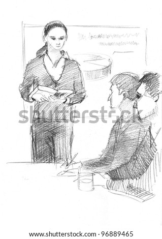 pencil drawing of a woman reporting something in front of the collegues - stock photo