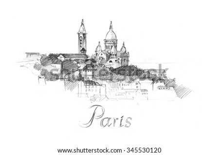 Pencil drawing of Basilica Sakre Ker with letters Paris - stock photo