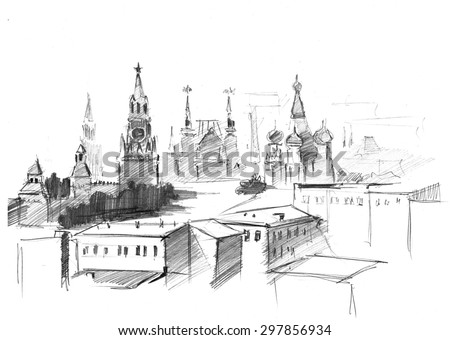 Pencil drawing of central sight of Moscow, St. Basil Church (Pokrova), Red square and Kremlin - stock photo