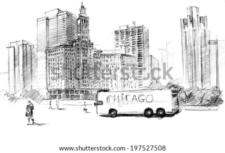Pencil drawing of Chicago city with skyscrapers, clock tower and pedestrian - stock photo